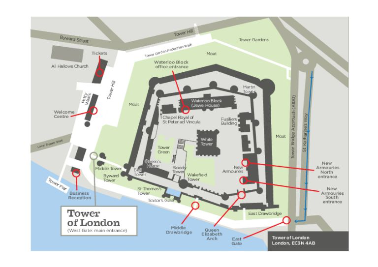 Tower of London site map